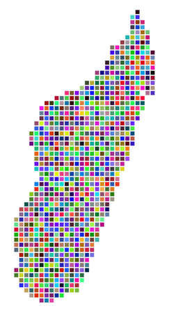 Multi colored dot Madagascar Island map. Vector concept of Madagascar Island map designed of square elements. Vector geographic dotted pixelated map in randomized colors.