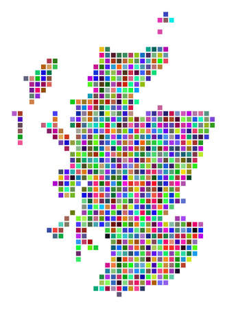 Multicolored dot Scotland map. Vector concept of Scotland map constructed of dot elements. Vector geographic dotted pixelated map in randomized colors.