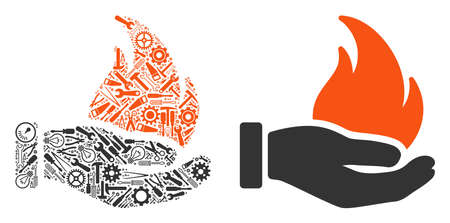 Burn hand collage of repair instruments. Vector burn hand icon is composed of gearwheels, spanners and other technical items. Concept of technician service.