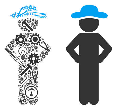 Gentleman akimbo composition of workshop tools. Vector gentleman akimbo icon is organized of cogs, hammers and other technical objects. Concept of tuning workshop.