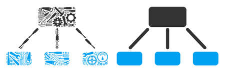 Hierarchy mosaic of service tools. Vector hierarchy icon is created of gear wheels, wrenches and other machinery objects. Concept of tuning work. Illustration
