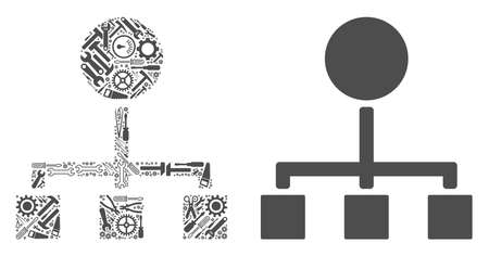 Hierarchy mosaic of service instruments. Vector hierarchy icon is done of gearwheels, hammers and other mechanical items. Concept of technician service.