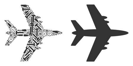 Jet plane composition of service instruments. Vector jet plane icon is made from cogwheels, spanners and other machinery items. Concept of mechanic service.