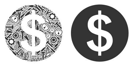 Money mosaic of repair instruments. Vector money icon is done of gears, spanners and other machinery objects. Concept of industrial service.