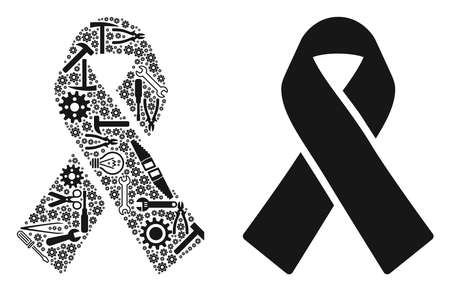Mourning ribbon collage of workshop tools. Vector mourning ribbon icon is designed of cogwheels, spanners and other service objects. Concept of maintenance work.