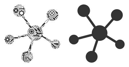 Network links mosaic of service instruments. Vector network links icon is composed from gear wheels, screwdrivers and other mechanics items. Concept of industrial service. Illustration