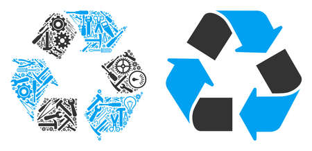 Recycle arrows composition of workshop instruments. Vector recycle arrows icon is made of gearwheels, spanners and other mechanical items. Concept of maintenance workshop.