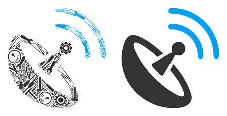 Space antenna mosaic of service instruments. Vector space antenna icon is formed with gear wheels, screwdrivers and other service objects. Concept of technical service. Illustration
