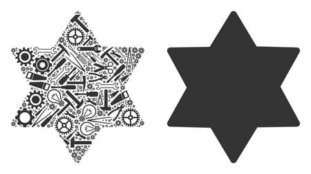 Six pointed star mosaic of repair instruments. Vector six pointed star icon is shaped of gearwheels, spanners and other service items. Concept of mechanic workshop.