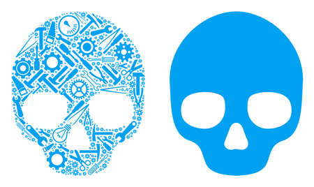 Skull composition of service tools. Vector skull icon is created of gears, wrenches and other service items. Concept of mechanic service.