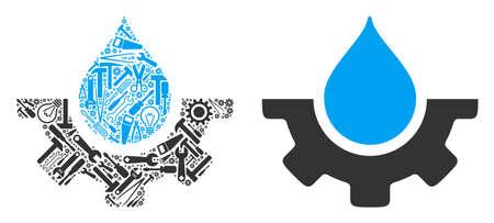 Water drop service tandwiel mozaïek van werkplaatsinstrumenten. Vector waterdruppel service tandwielpictogram is gemaakt van tandwielen, sleutels en andere service-items. Concept van mechanische werkplaats. Vector Illustratie
