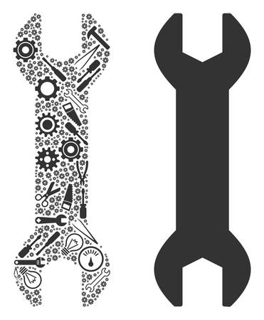 Wrench collage of service instruments. Vector wrench icon is shaped from gears, spanners and other service items. Concept of industrial work.