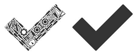 Yes mosaic of service tools. Vector yes icon is created from cogwheels, hammers and other machinery objects. Concept of technical workshop. Illustration