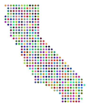 Multicolored dot California map. Vector abstraction of California map created of rhombus elements array. Abstract geographic pixelated plan in randomized colors. Ilustração