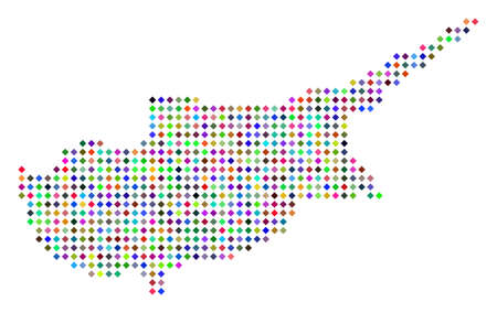 Multi colored dot Cyprus Island map. Vector abstraction of Cyprus Island map combined of rhombus elements mosaic. Abstract geographic pixelated scheme in randomized colors. 일러스트