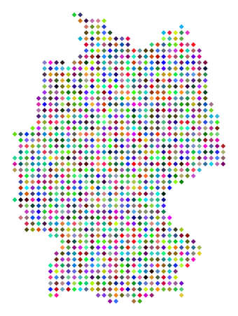 Multi colored dotted Germany map. Vector abstraction of Germany map combined of rhombus pixels pattern. Abstract geographic dotted pixelated scheme in variable colors.