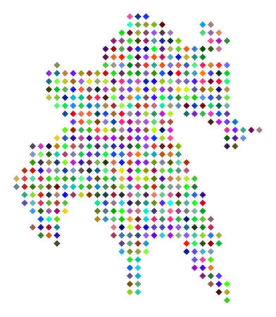 Multicolored dot Peloponnese Peninsula map. Vector abstraction of Peloponnese Peninsula map organized of rhombus elements pattern. Abstract geographic pixelated scheme in randomized colors.