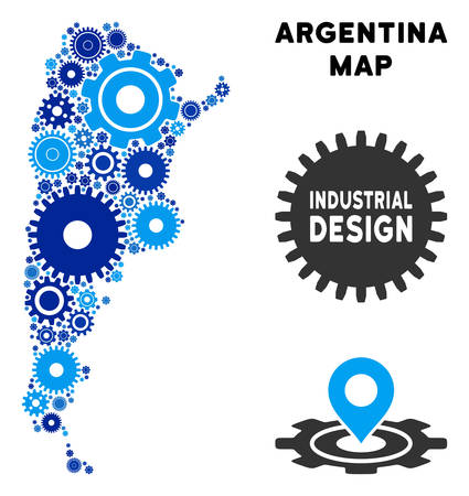 Repair Service Argentina map mosaic of gears. Abstract territorial plan in blue color tinges. Vector Argentina map is designed of gears. Concept of technician service.