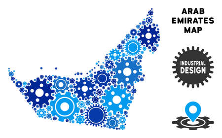 Industrial Arab Emirates map collage of cogs. Abstract geographic plan in blue shades. Vector Arab Emirates map is composed of cogwheels. Concept of mechanic service.