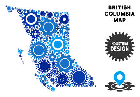 Repair Service British Columbia Province map composition of gears. Abstract territorial plan in blue color tints. Vector British Columbia Province map is formed of gears. Concept of tuning workshop.
