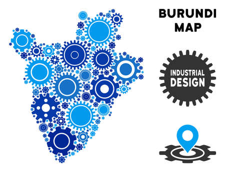 Repair Service Burundi map mosaic of cogs. Abstract territorial plan in blue shades. Vector Burundi map is designed of cogs. Concept of maintenance company. Ilustração