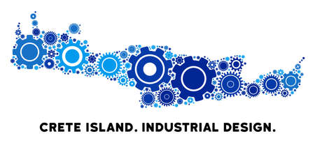Repair Service Crete Island map composition of gears. Abstract geographic plan in blue shades. Vector Crete Island map is constructed of gears. Concept of industrial service.