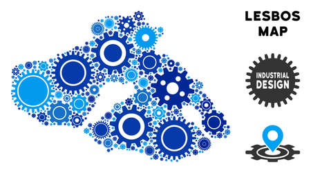 Repair Service Greek Lesbos Island map composition of cogs. Abstract geographic plan in blue color tints. Vector Greek Lesbos Island map is done of cogwheels. Concept of technician company.