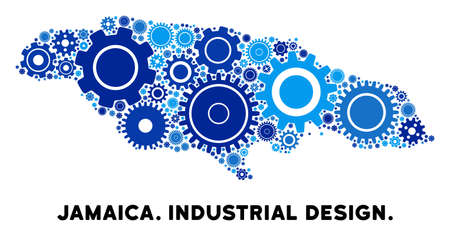 Repair Service Jamaica map mosaic of gears. Abstract territory plan in blue color hues. Vector Jamaica map is created with cogs. Concept of technical service. Illustration