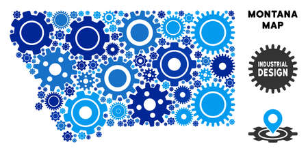 Repair Service Montana State map mosaic of gears. Abstract territory plan in blue shades. Vector Montana State map is shaped of gears. Concept for mechanic service.