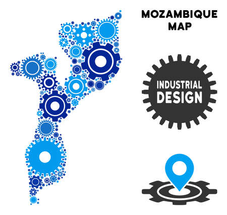 Repair Service Mozambique map mosaic of gears. Abstract territory plan in blue color tints. Vector Mozambique map is designed of gears. Concept for technical service.