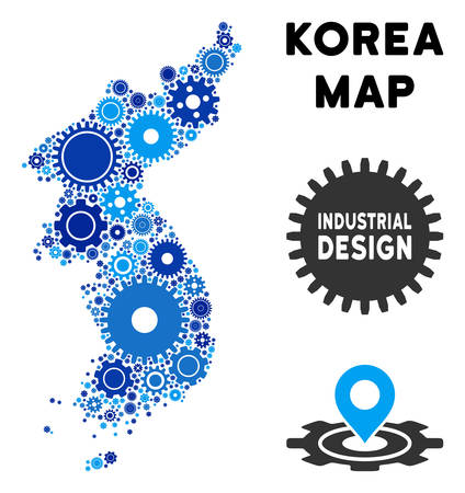 Industrial North and South Korea map mosaic of cogs. Abstract territorial plan in blue color tones. Vector North and South Korea map is made of cogs. Concept of industrial service. Illusztráció