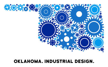 Industrial Oklahoma State map collage of gears. Abstract territory scheme in blue color tones. Vector Oklahoma State map is created of gears. Concept of maintenance work.
