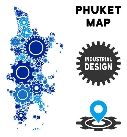 Repair Service Phuket map composition of cogs. Abstract territorial plan in blue shades. Vector Phuket map is formed of gears. Concept of technical service.