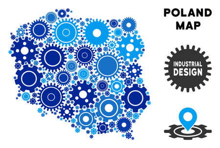 Repair Service Poland map composition of gears. Abstract geographic plan in blue color hues. Vector Poland map is formed of gears. Concept of technical workshop.