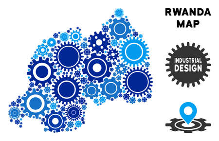 Repair Service Rwanda map collage of gears. Abstract geographic plan in blue shades. Vector Rwanda map is done with cogwheels. Concept of technician company.