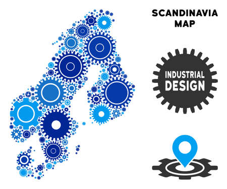 Repair Service Scandinavia map collage of cogs. Abstract territorial plan in blue color tinges. Vector Scandinavia map is shaped with cogs. Concept of tuning service.  イラスト・ベクター素材