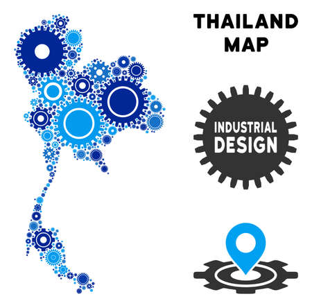 Repair Service Thailand map mosaic of cogs. Abstract territory plan in blue color tones. Vector Thailand map is done from cogs. Concept of technician service.