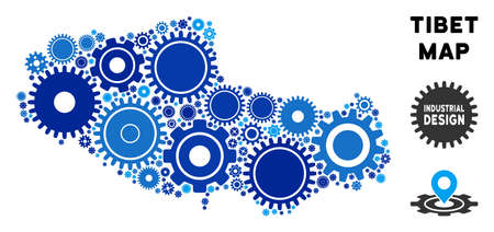 Repair Service Tibet Chinese territory map mosaic of gears. Abstract geographic scheme in blue color tones. Vector Tibet Chinese territory map is formed of cogs. Concept for industrial service.  イラスト・ベクター素材