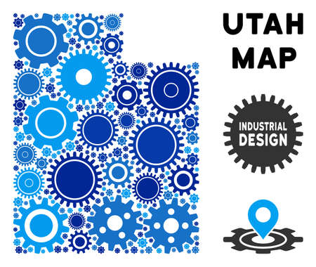 Repair Service Utah State map mosaic of gears. Abstract territory scheme in blue color tints. Vector Utah State map is organized of cogs. Concept of technician company.