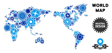 Repair Service world map composition of cogs. Abstract geographic scheme in blue color hues. Vector world map is organized of gear wheels. Concept for mechanic service.