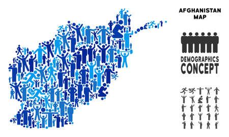 Mapa de Afganistán de población vectorial. Collage de Demografía del mapa de Afganistán creado por personas con diferentes posturas. Mapa demográfico en tonos azules. Plan social abstracto de cartografía de la comunidad de la nación.