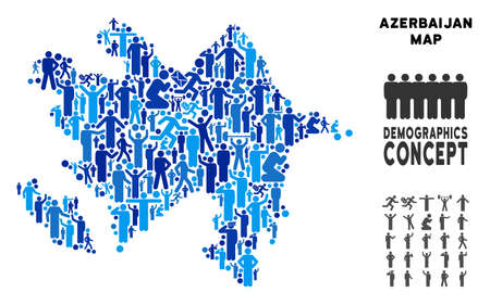Vector population Azerbaijan map. Demography mosaic of Azerbaijan map composed of men with different positions. Demographic map in blue tones. Иллюстрация