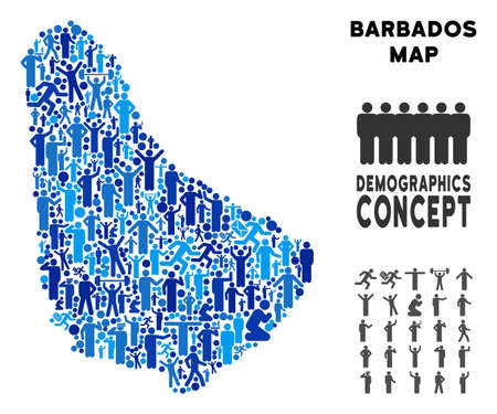 Vector population Barbados map. Demography concept of Barbados map constructed of people with different positions. Demographic map in blue tints. Abstract social plan of national public cartography.