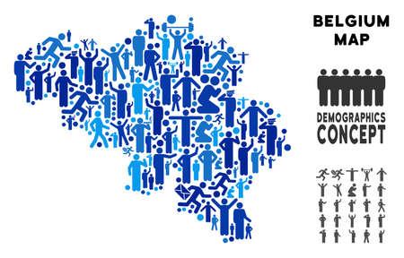 ベクター人口ベルギーマップ。ベルギー地図のデモグラフィー構成は、可変姿勢で群衆の行われた。青い色の人口統計マップ。