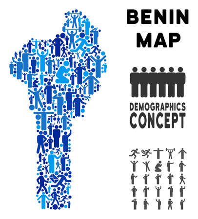 Vector population Benin map. Demography composition of Benin map composed of men with variable positions. Demographic map in blue hues. Abstract social plan of national group cartography.