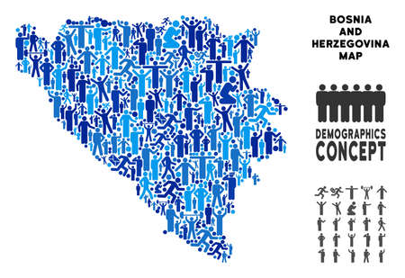 Vector population Bosnia and Herzegovina map. Demography composition of Bosnia and Herzegovina map combined of persons with variable poses. Demographic map in blue tinges.