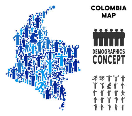 Vector population Colombia map. Demography concept of Colombia map made of humans with different poses. Demographic map in blue tinges. Abstract social representation of nation mass cartography.