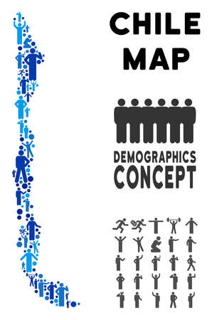Vector population Chile map. Demography abstraction of Chile map composed of persons with different positions. Demographic map in blue shades. Abstract social scheme of national group cartography. Illustration