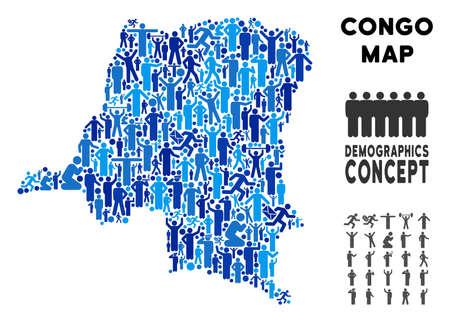Vector population Democratic Republic of the Congo map. Demography composition of Democratic Republic of the Congo map designed of people with different poses. Demographic map in blue tones. Vectores