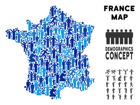 Vector population France map. Demography mosaic of France map composed of people with different postures. Demographic map in blue variations. Abstract social plan of national community cartography. Иллюстрация